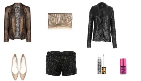 Veste dorée Mango/Short et veste à sequins Jennyfer/Ballerines Zara/Pochette New Look/Fard à paupières giller Too Faced/Vernis bijou Nail Inc. London